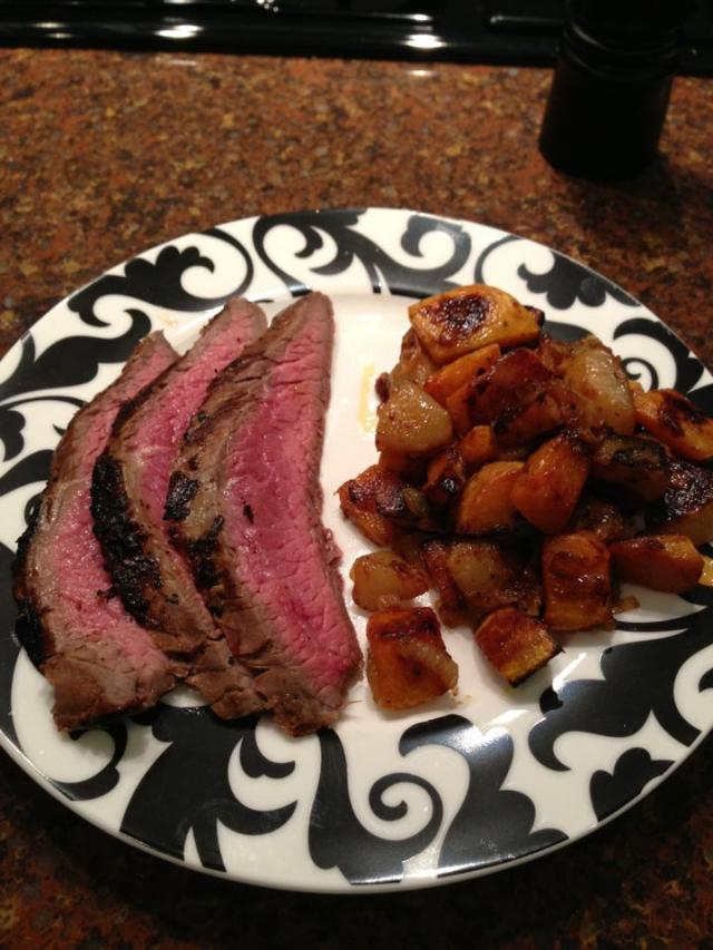 2013 03 11 Grilled marinated flank steak with roasted butternut squash and pears