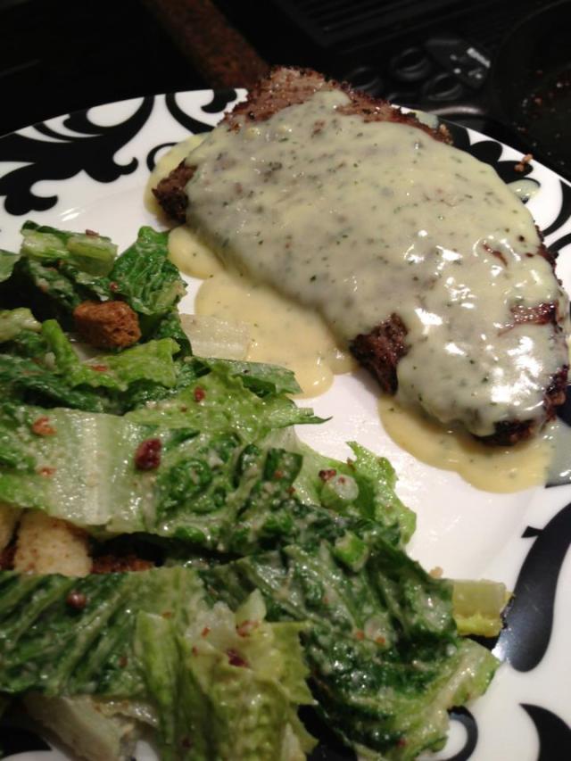 2013 03 18 Mmmm pepper steak with bernaise sauce and caesar salad.