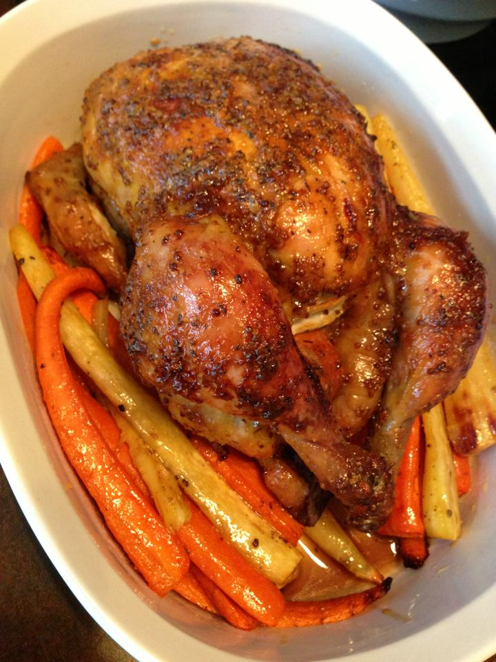 ... maple and whole grain mustard roasted chicken with carrots and