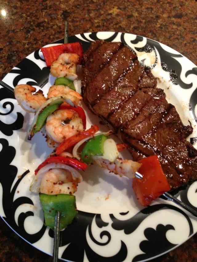 2013 04 30 Steak and shrimp skewers