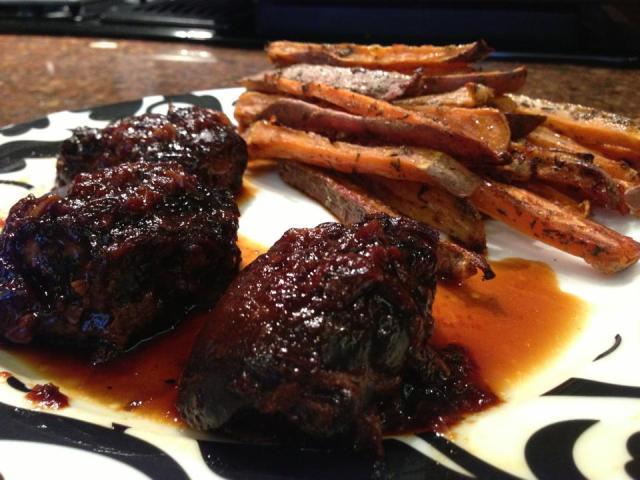 2013 05 20 Braised honey garlic chicken thighs and spiced sweet potato fries