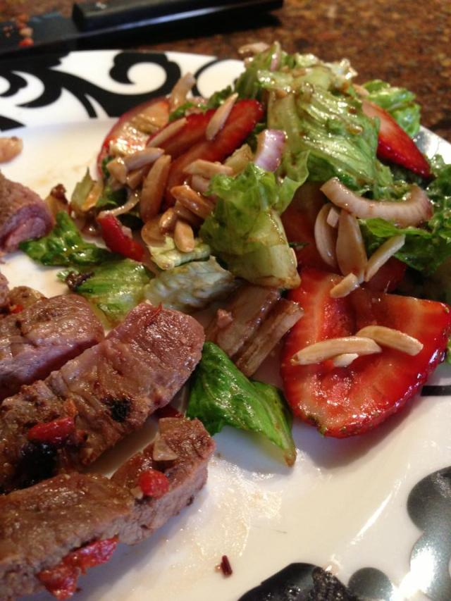 2013 05 27 Chipotle grilled flank steak with roasted red peppers and onions with a refreshing summer salad of strawberries and toasted almonds!