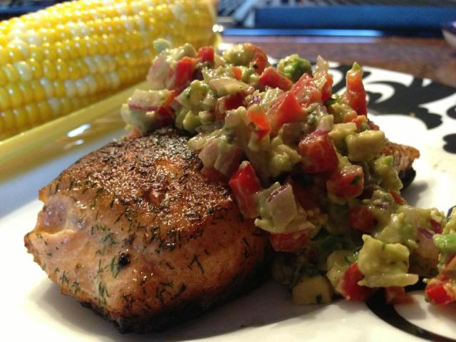 2013 06 04 Crispy skin salmon with an avocado and red pepper salsa!