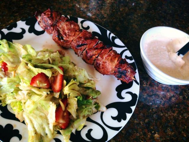 2013 07 22 Bbq'd meat kabob with garlic mayonnaise and a toasted almond and strawberry salad!