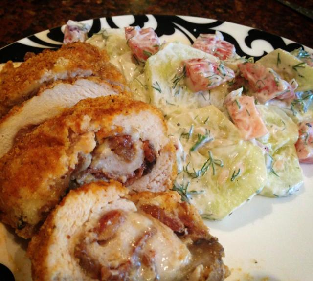 2013 09 17 Boccaccini and bacon stuffed chicken roulades with cucumber salad