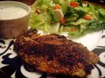2013 12 21  Pan-fried tilapia, crusted with almond flour and cajun spice, homemade tartar sauce and a fresh salad!