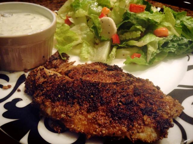 2013 12 21  Pan-fried tilapia, crusted with almond flour and cajun spice, homemade tartar sauce and a fresh salad!