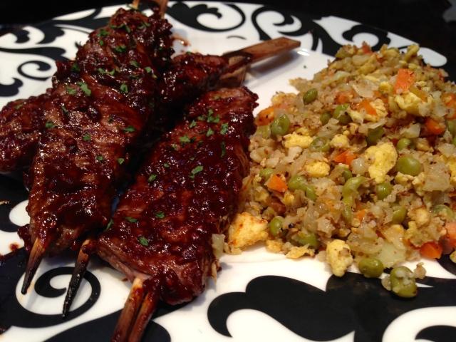 2014 02 23 Flank Steak Kabobs with Raspberrt BBQ sauce and Paleo fried rice